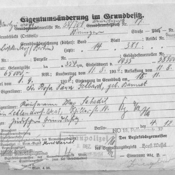 Familie Gelbard 4.12.1939: Eigentumsänderung im Grundbesitz jüdisches Vermögen. Quelle: Landesarchiv Berlin A Rep. 010-02, Nr. 31732