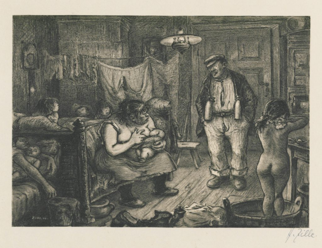 Heinrich Zille: Der späte Schlafbursche (1902). Quelle: Stiftung Stadtmuseum Berlin / Wikimedia Commons https://commons.wikimedia.org/wiki/File:Zille_Der-spaete-Schlafbursche_GDR-73-100-6.jpg?uselang=de gemeinfrei