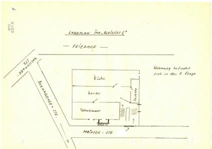 """Lageplan einer """"Konspirativen Wohnung"""" in der Mainzer Straße, gezeichnet vom MfS 1980, BStU, MfS BV Pdm AIM 1205/86, pag. 13 ©"""